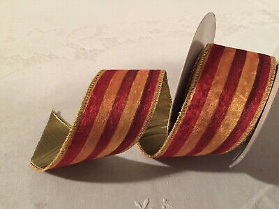 "Mackenzie Childs Heirloom Stripe VELVET Wire Edge Ribbon 2"" Wide by the yard NEW"