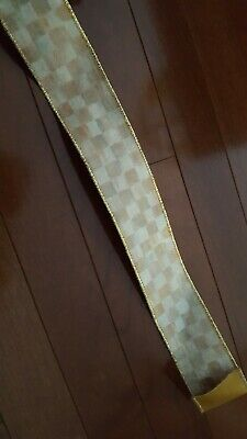 "Mackenzie Childs Parchment Check VELVET Wire Edge Ribbon 2"" Wide by the yard NEW"