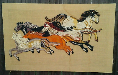 70s Erica Wilson Completed Embroidery Crewel Wall Hanging 1972 Columbia Minerva