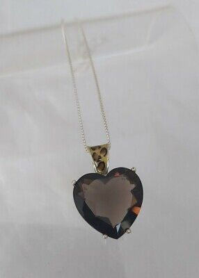 Sterling Silver Smoky Quartz Heart Pendant Necklace Signed Ca 925