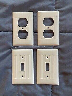 Vintage Sierra Ivory Outlet/Switch Plate Cover Ribbed Bakelite