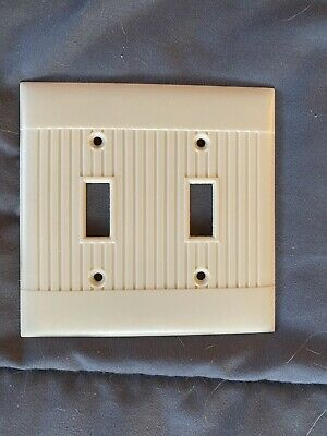Vintage Ivory Bakelite Sierra Ribbed DOUBLE Wall Toggle Light Switch Plate Cover