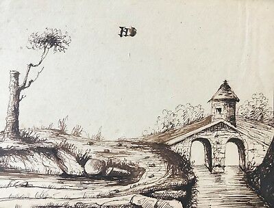 Bridge Roman Middle Age Medieval Ink towards 1862 near of Yvelines