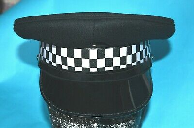 Police Officers Woolen Cap With Visor Peak And Checkered Cap Band.