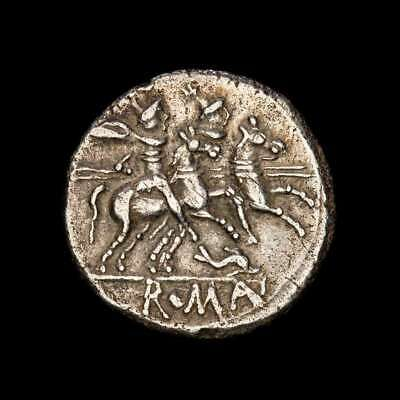 *Lucernae* Rep. Anonymous Denarius The dioscuris - Dolphin Sicily 209-208 B.C.