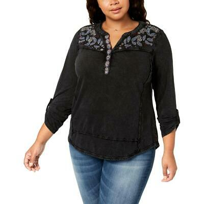 Style & Co. Womens Black Cotton Embroidered Blouse Top Plus 3X BHFO 0963