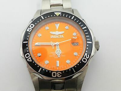 Invicta 10665 Pro Diver Stainless Steel Orange Black Dial Time Date Analog Watch