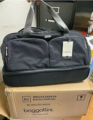"""NEW Baggallini Rolling  Carry-On Duffle Bag Wheeled Luggage Black/Charcoal 21"""""""