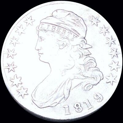 1819 Capped Bust Half Dollar ABOUT UNCIRCULATED Philadelphia au 50c Silver Coin!