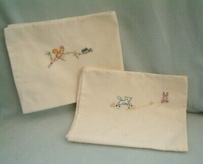 2 Vintage Baby Embroidered Pillow Cases Nursery Cot Babies Bedding birds animals