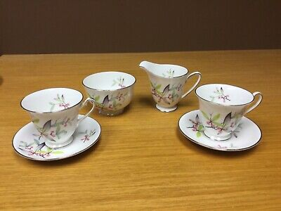 "Windsor ""April"" England Bone China Cup & Saucers w/Creamer & Open Sugar Bowl"