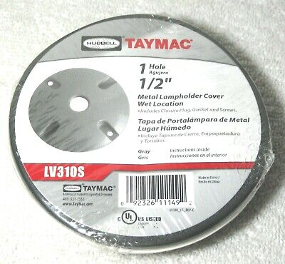 """Round Metal Lampholder Cover Wet Location 1 Hole 1/2"""" Gray Hubbell Taymac LV310S"""