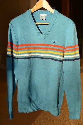 Ocean Pacific OP Mens Sweater L Vintage 1980s Sky Blue w stripes classic V neck