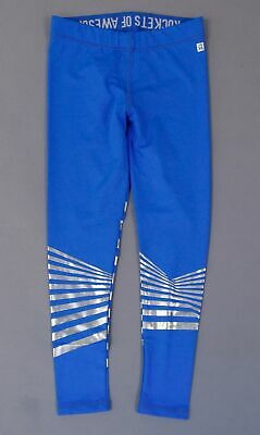 Rockets of Awesome Girl's Foil Striped Active Leggings TM8 Blue Size 5 NWT