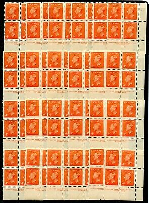 Weeda Canada 306 MNH wholesale lot of plate blocks, 4c orange vermilion CV $70+