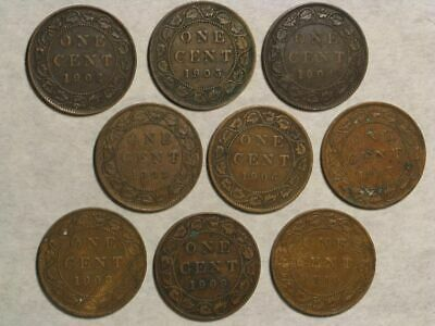 CANADA 1902-1910 1 Cent Edward VII - Complete 9 Coins/Dates