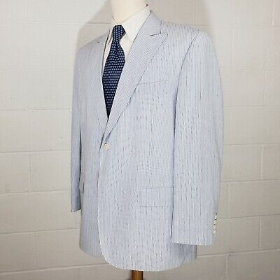 Paul Fredrick Blue White Seersucker Mens 44R Cotton Sport Coat Blazer Jacket