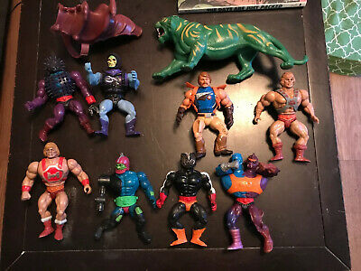 lot of 9 Vintage He-Man Figures Battle Cat MOTU 1981-1985