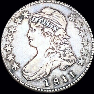 1811 Capped Bust Half Dollar LIGHTLY CIRCULATED Philadelphia High End 50c Silver