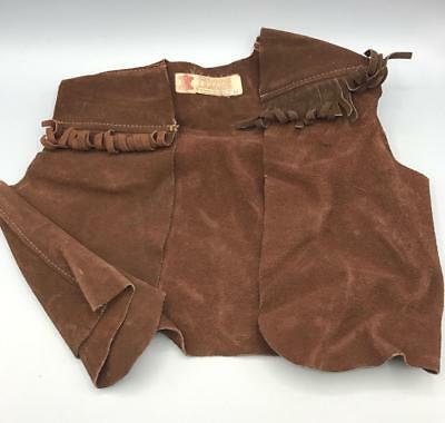 Vintage Berman Buckskin Brown Leather Vest Toddler Size