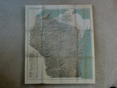 1931 RELIEF MAP OF WISCONSIN Physical Geography 24 x 21 Folded Geologic History