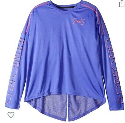 Under Armour Girls Youth XS  Purple & Pink Tech Long Sleeve Shirt Nwt