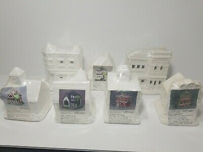 New California Creations Ready To Paint Church Fire House Market School Lot of 7