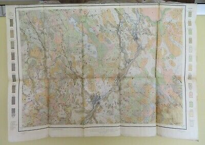 1909 Antique Color Map Bangor Orono Oldtown Maine Vicinity 28 X 21 #0350