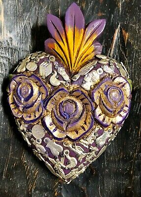 Purple MILAGROS SACRED HEART Carved Gold Roses Mexican Folk Art 7.5""