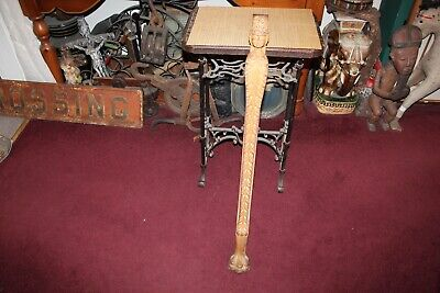 Large Antique Victorian Carved Wood Pediment Furniture Leg Woman Angel Face Claw