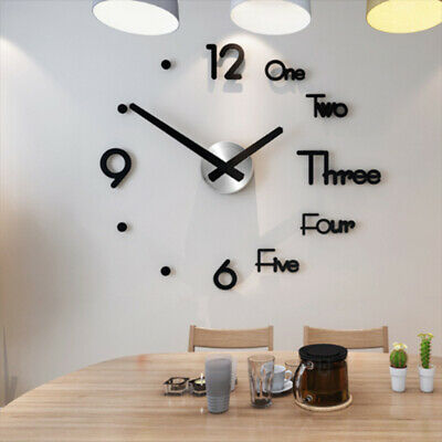 Wall Clock Large DIY 3D Roman Numerals Mirrors Surface Luxury Big Art Clock home