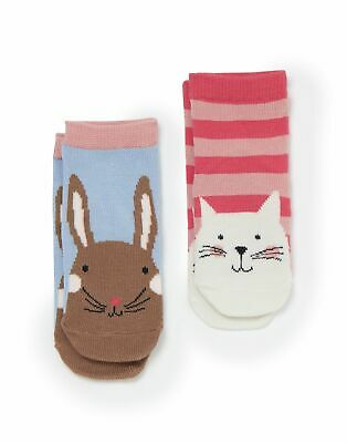Joules Baby Girls Neat Feet 2 Pack Character Socks - MULTI CAT AND BUNNY