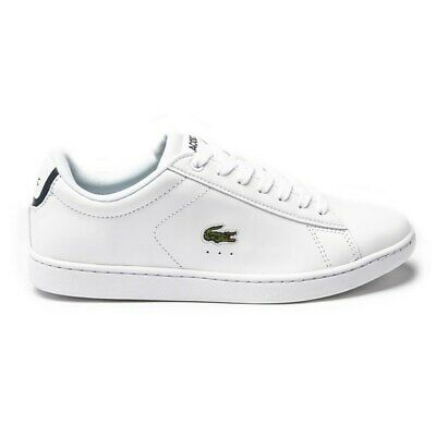 New Womens Lacoste Black Carnaby Evo Leather Trainers Court Lace Up