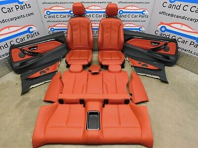BMW M Sport Seats 4 Series Red Leather Heated Memory with Door Cards F32 Coupe