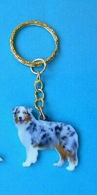 Australian Shepherd Realistic Dog Sitting Purse Charm Zipper Pull Jewelry