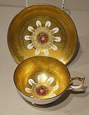 Aynsley - Stunning hand painted, tooled gilt Cup & Saucer