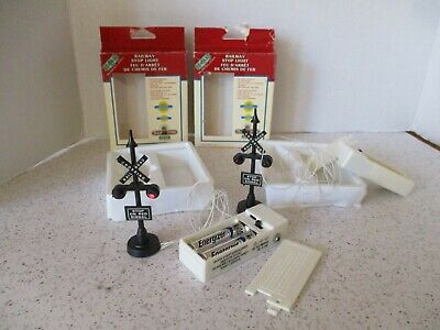 2 Lemax Railway Stop Lights, Original Boxes, Working, Village Train System