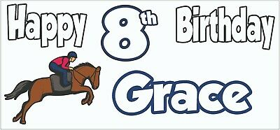 Personalised Horse Riding 8th Birthday Banner X2 Decorations Daughter Girls Boys