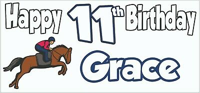Personalised Horse Riding 11th Birthday Banner X2 Decoration Daughter Girls Boys