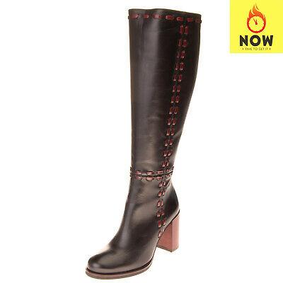 RRP €240 NORAH Leather Knee High Boots Size 36 UK 3 US 6 Stitched Made in Italy