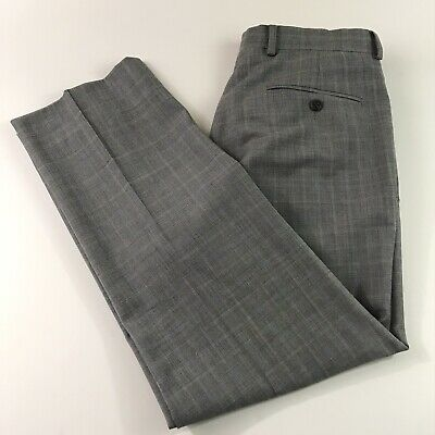 Brooks Brothers Fitzgerald Fit Wool Pants Grey Blue Glen Plaid Men's Sz 33X28""