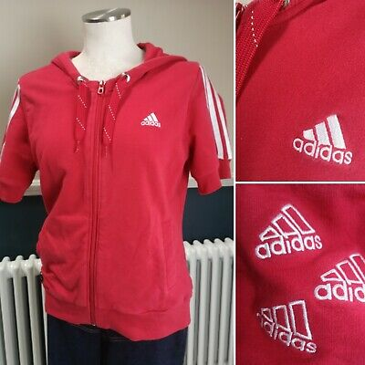 Adidas Tracksuit Top Jacket Womens Red Vintage Size 16 Short Sleeve Hoodie