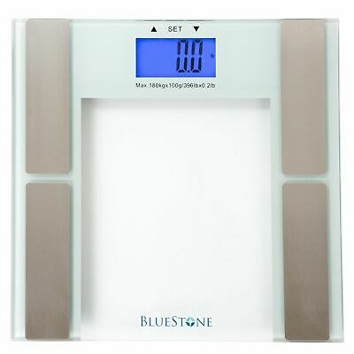 BLUESTONE Tempered Glass Digital Electronic Body Fat Weight Scale~180KG 396lb