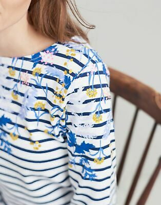 Joules Womens Harbour Printed Jersey Top Shirt - NAVY FLORAL BORDER Size 8