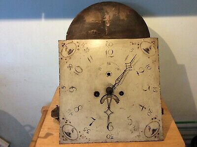 Antique grandfather clock face and movement painted hunting scene longcase