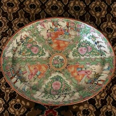 Lovely Antique Chinese Rose Famille / Canton Large Oval Platter