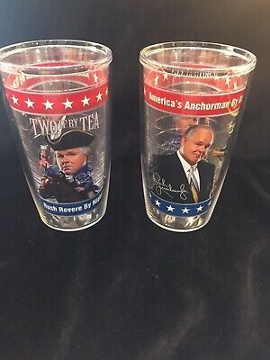 TWO Tervis Tumbler Rush Limbaugh Anchorman By Day Revere By Night 16oz