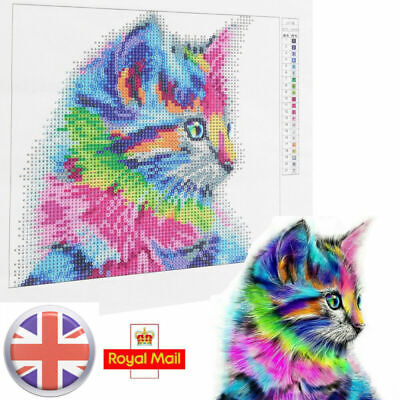5D Diamond Painting Embroidery Cross Craft Stitch Colorful Cat Pictures Art Set