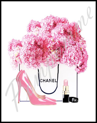 Fashion Print Hydrangea Watercolour Wall Art Decor Picture Pink Bedroom Shoes A4