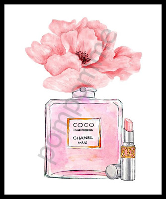 Perfume Print Pink Watercolour Wall Art Home Decor Flowers Picture Bedroom A4